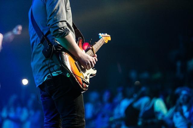 kytarista na koncertě